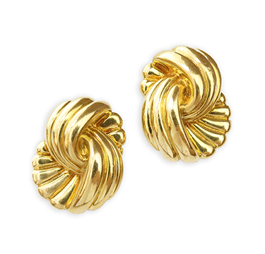 A Pair of Sculpted Gold Ear Clips, by Van Cleef & Arpels, circa 1980