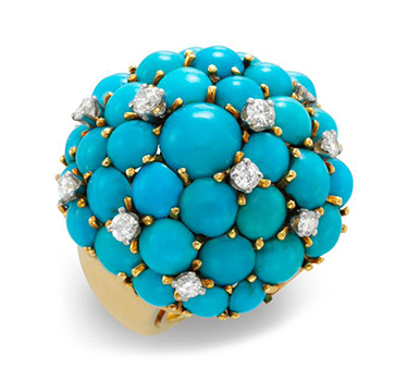 A Turquoise and Diamond Cluster Ring, by Van Cleef & Arpels, circa 1970