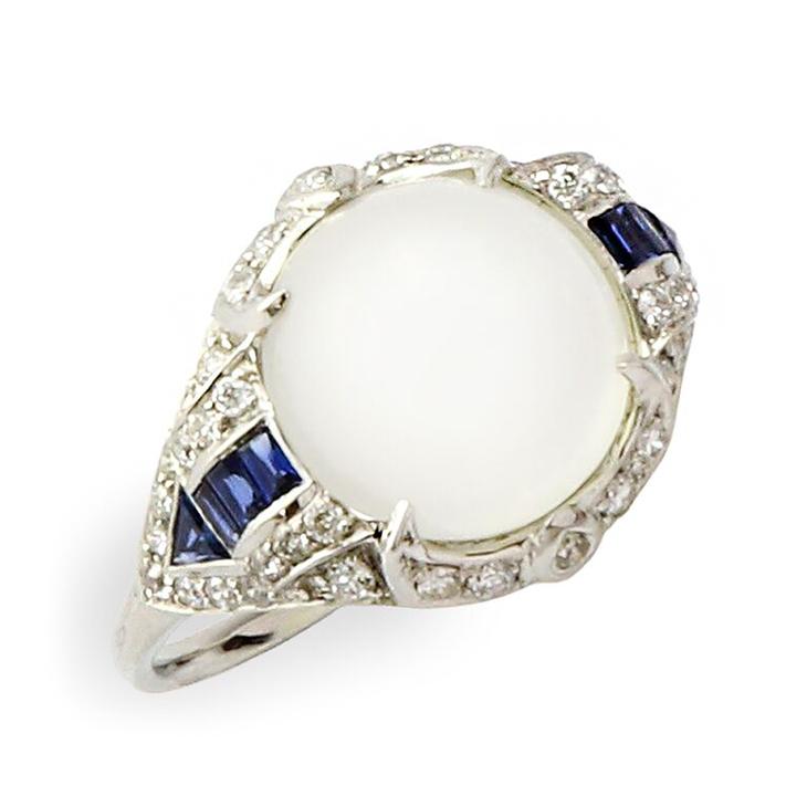 An Art Deco Moonstone, Sapphire and Diamond Ring