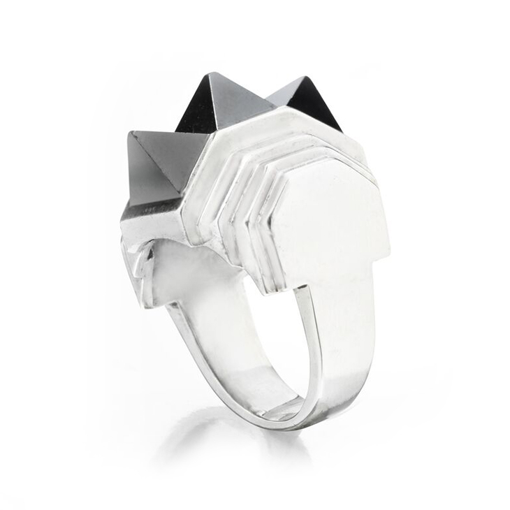 A Hematite and Silver Spike Ring, by Suzanne Belperron, circa 1935