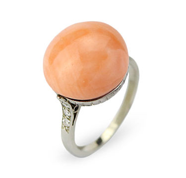 An Early 20th Century Coral Button and Diamond Ring