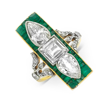 An Early 20th Century Diamond and Emerald Plaque Ring, circa 1925