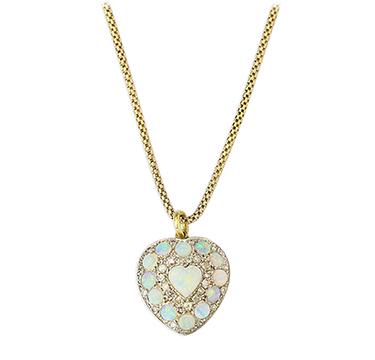 An Antique Opal and Diamond Heart Pendant Necklace, circa 1900