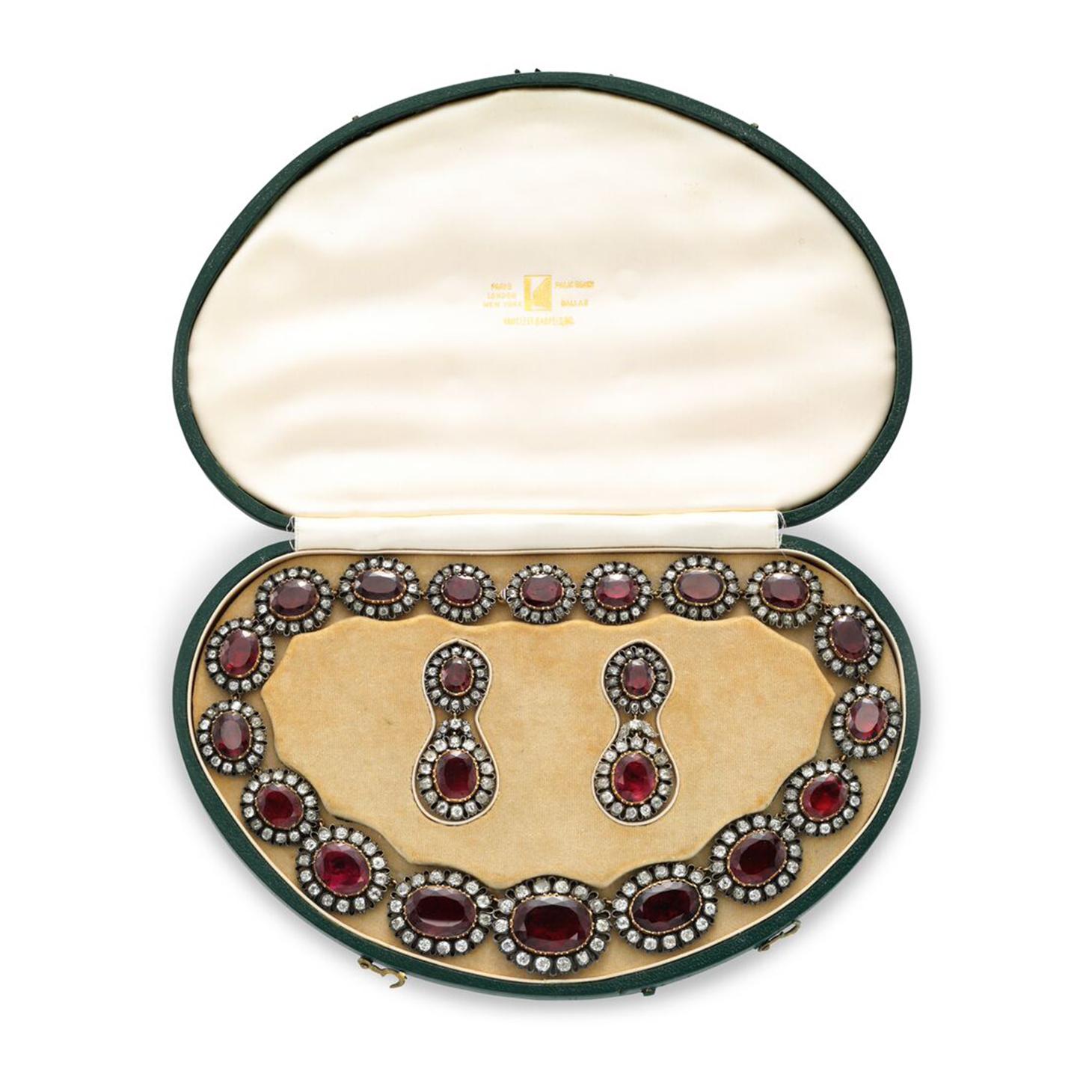 A 19th Century Topaz and Diamond Necklace, with ear pendants en suite