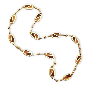 A Wood and Gold Long Chain Necklace, by Bulgari, circa 1970