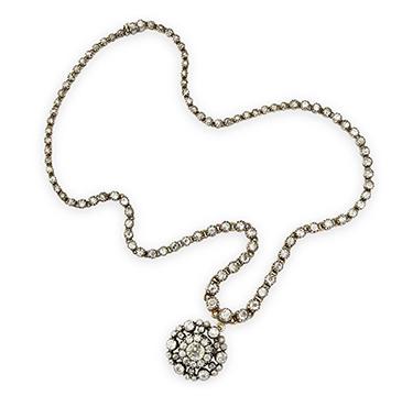 An Antique Diamond Diamond Pendant Necklace, circa 19th Century