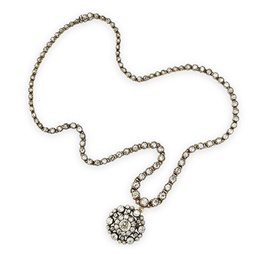 An Antique Diamond Diamond Pendant Necklace, circa 19th Century