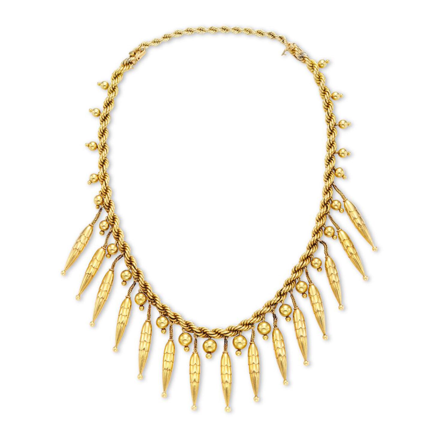 A Retro Gold Tassel Necklace, by Marchak, circa 1940
