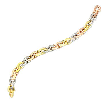 A Tri-colored Gold and Diamond Chain-link Bracelet, by Bulgari, circa 1970