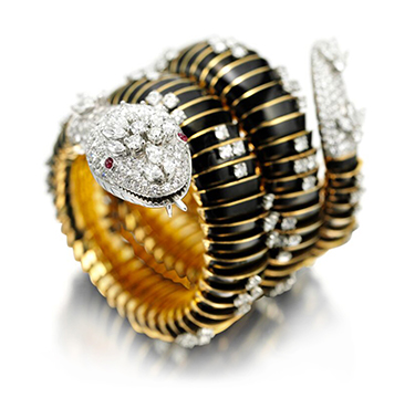 An Enamel, Ruby and Diamond 'Serpenti' Watch Bracelet, by Bulgari, circa 1960