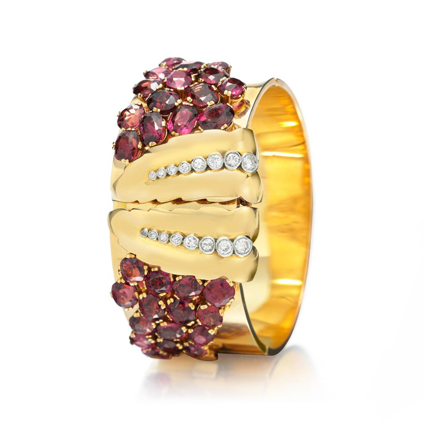 A Rare Retro Tourmaline and Diamond Cuff Bracelet, by Bulgari, circa 1935