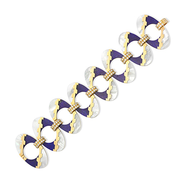 A Lapis Lazuli, Mother of Pearl and Diamond Bracelet, by Bulgari, circa 1960