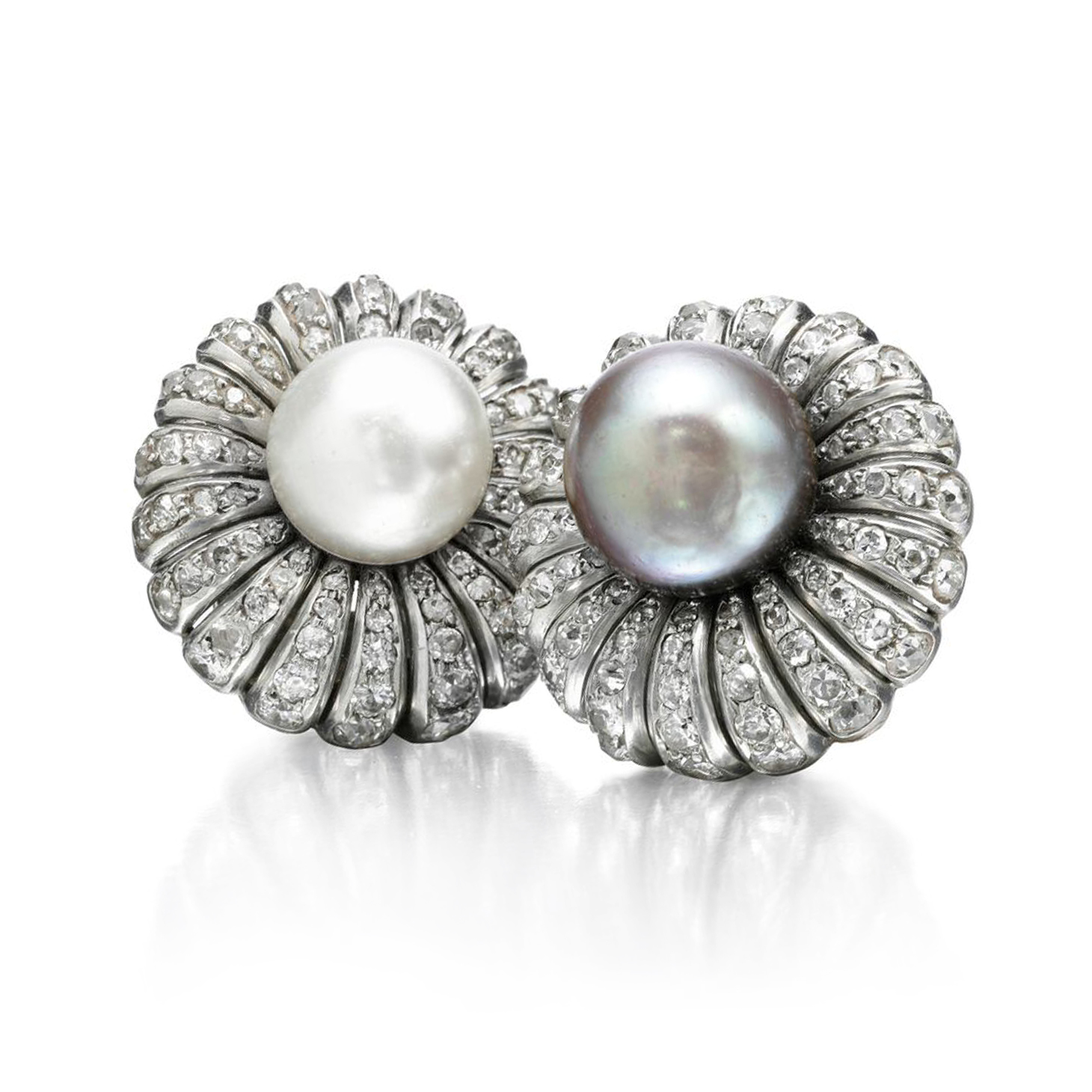 A Pair of Natural Pearl and Diamond Ear Clips, by Suzanne Belperron, circa 1940