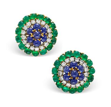 A Pair of Emerald, Sapphire and Diamond Ear Clips, by Bulgari, circa 1960