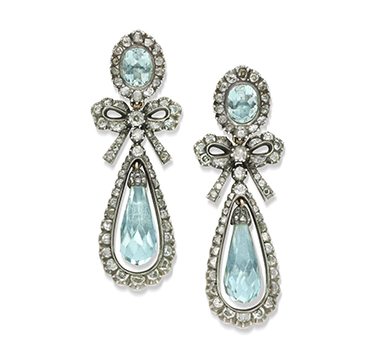 A Pair of late 18th Century Aquamarine and Diamond Ear Pendants, circa 1780