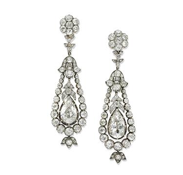 A Pair of Antique Diamond Ear Pendants