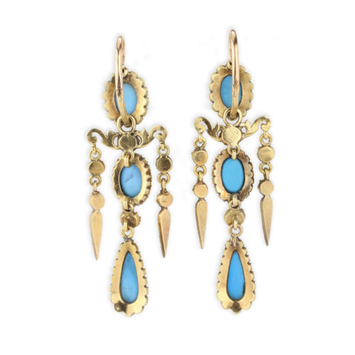 Antique Turquoise and Diamond Chandelier Ear Pendants