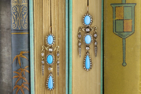 Antique Turquoise And Diamond Chandelier Ear Pendants