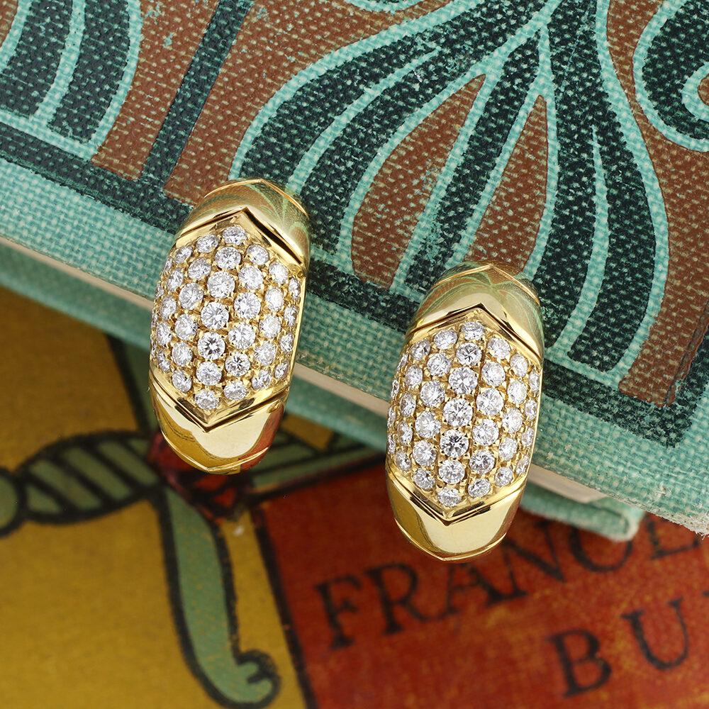 Bulgari Diamond and Gold Ear Clips