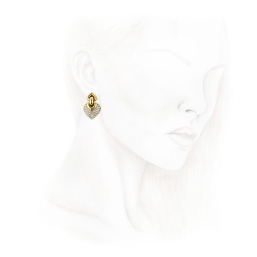 Bulgari 'Doppio Cuore' Diamond and Gold Ear Pendants