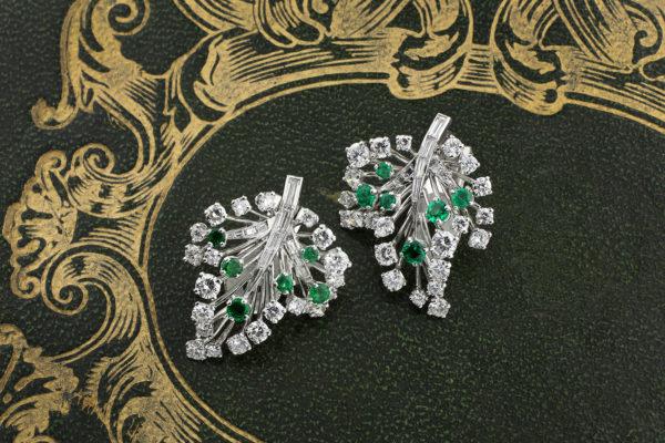 Cartier Emerald And Diamond Ear Clips
