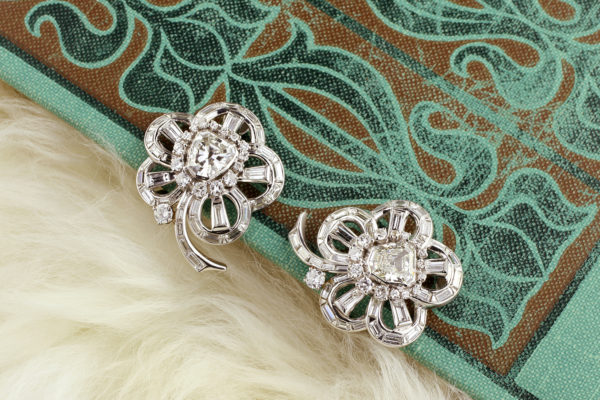 Diamond Set Floral Ear Clips