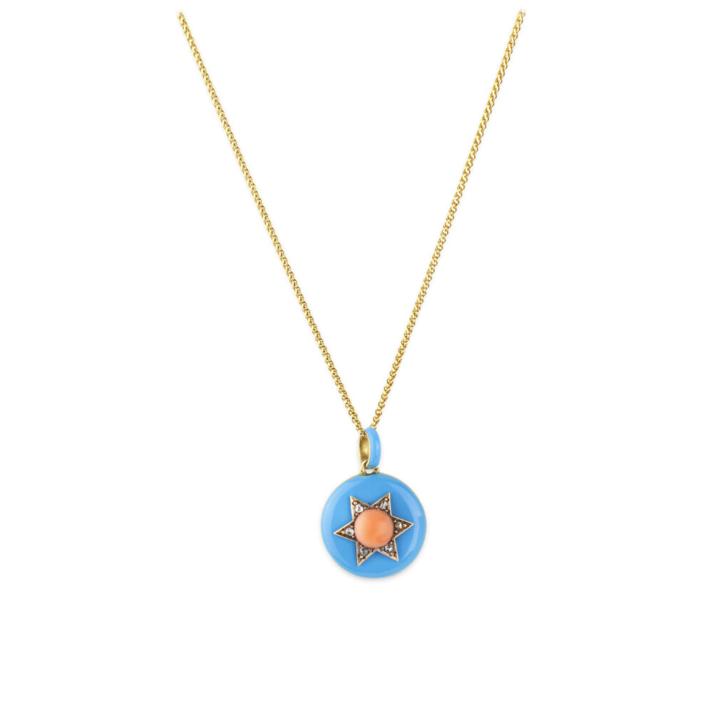 Enamel, Coral and Diamond Locket Pendant