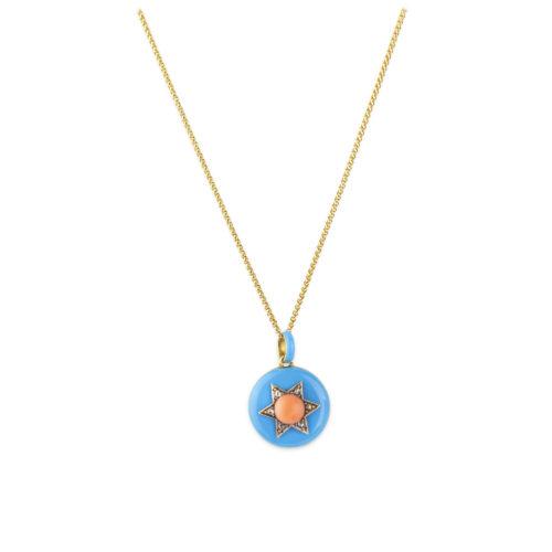 Enamel, Coral and Diamond Locket Pendant