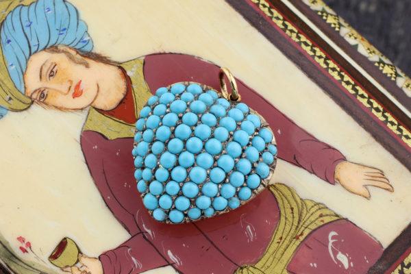 Antique Turquoise Set Heart Shaped Pendant
