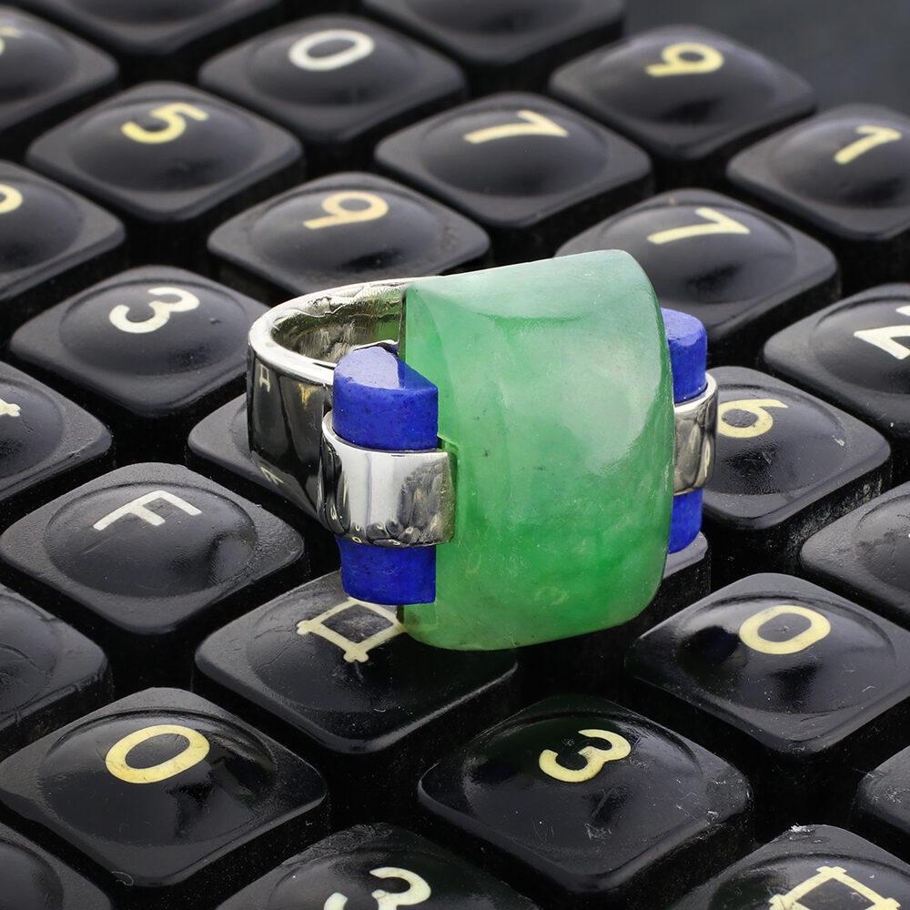 Andre Schwoba Jade, Lapis Lazuli and Gold Ring