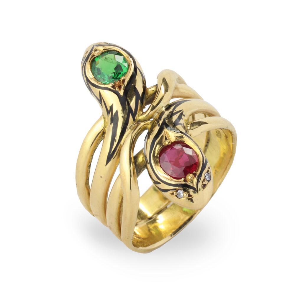 Ruby and Demantoid Garnet Double Snake Ring