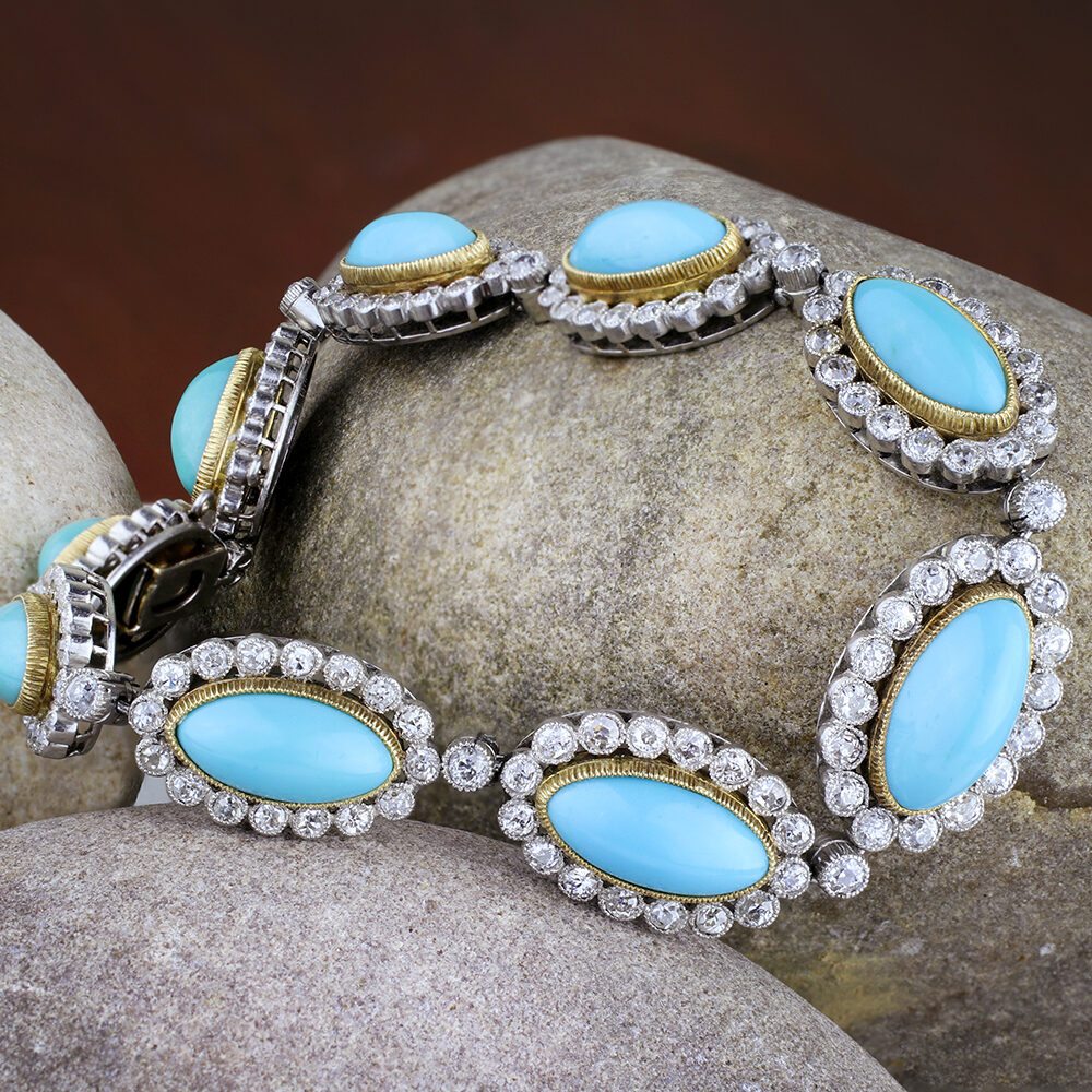 Edwardian Turquoise and Diamond Bracelet