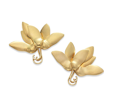 Gold Maple Seed Ear Clips, by JAR