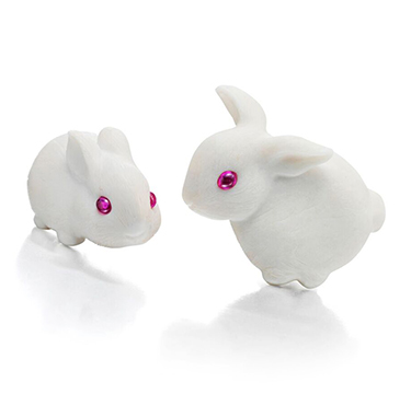 A Pair of White Agate, Ruby and Gold 'Bunny' Ear Clips, by JAR