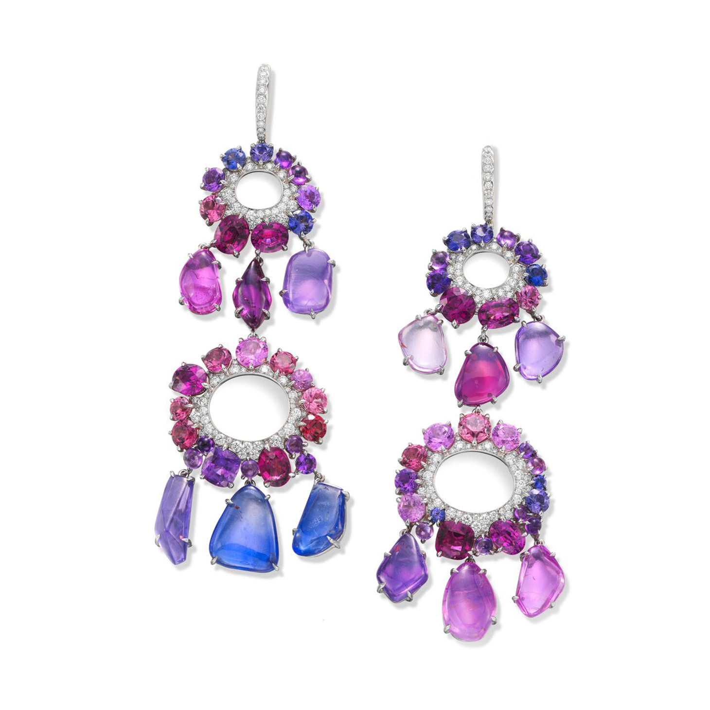 A Pair of Sapphire, Pink Spinel, Garnet, Amethyst and Diamond Ear Pendants, by SABBA
