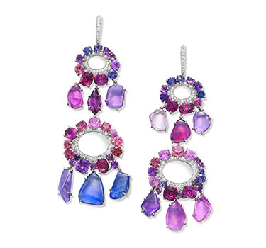 A Pair Of Sapphire, Pink Spinel, Garnet, Amethyst And Diamond Ear Pendants, By SABBA