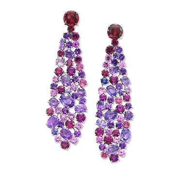 A Pair of Sapphire, Garnet, Tourmaline, Amethyst and Diamond Ear Pendants, by SABBA