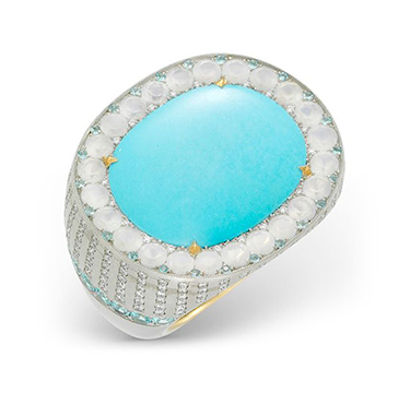 A Turquoise and Diamond Ring, by SABBA