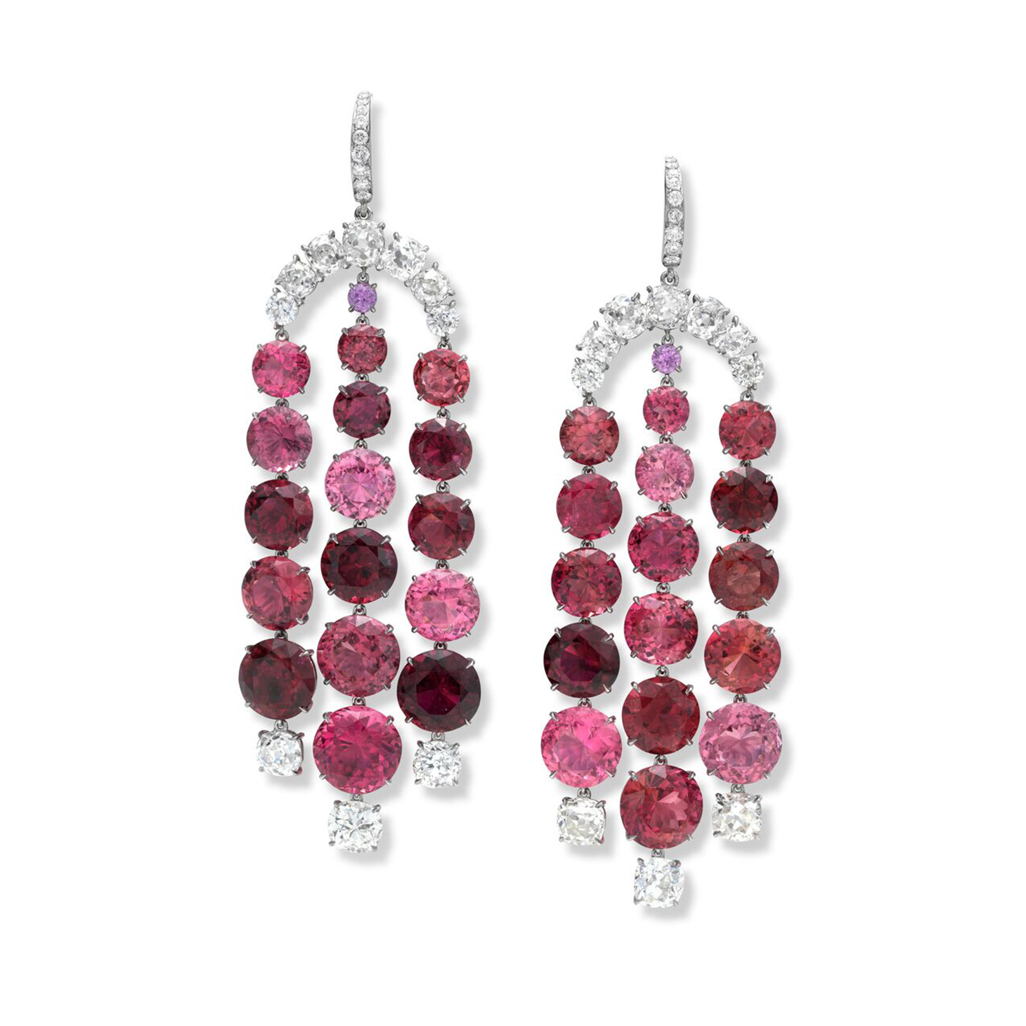 A Pair of Rubellite Tourmaline and Diamond Ear Pendants, by SABBA