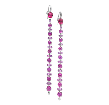 A Pair of Ruby, Tourmaline, Pink Sapphire and Diamond Ear Pendants, by SABBA