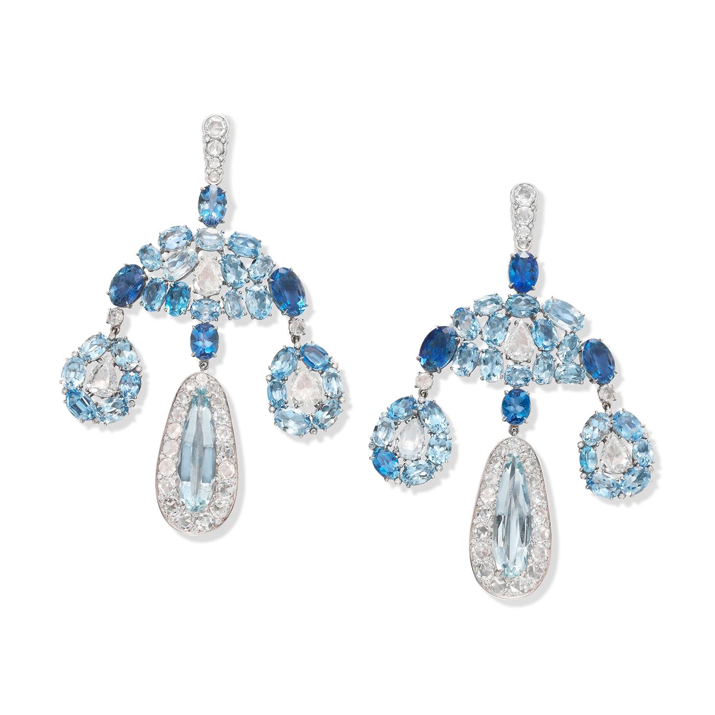 A Pair of Aquamarine and Diamond Girandole Ear Pendants, by SABBA