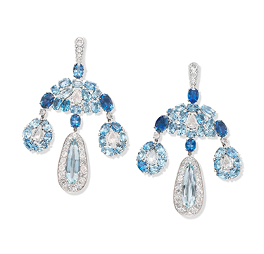 A Pair of Aquamarine and Diamond Girandole Ear Pendants, by SABBA