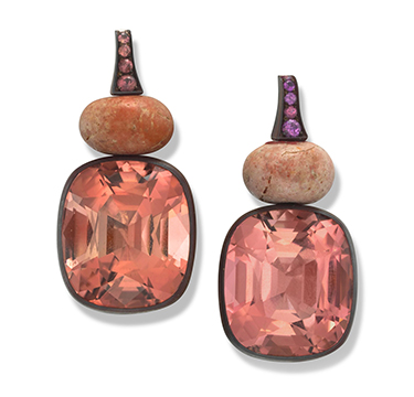 A Pair of Tourmaline, Stone and Pink Sapphire Earrings, by Hemmerle