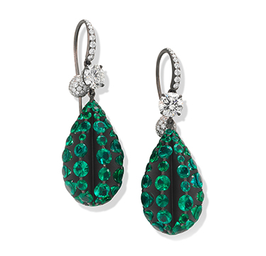 A Pair of Emerald, Diamond and Titanium Earrings, by SABBA