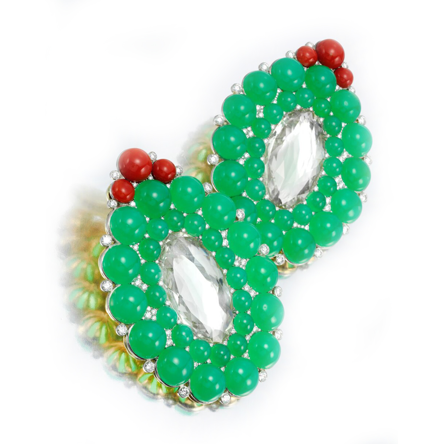 A Pair of Chrysoberyl, Coral and Chrysoprase Ear Clips, by SABBA