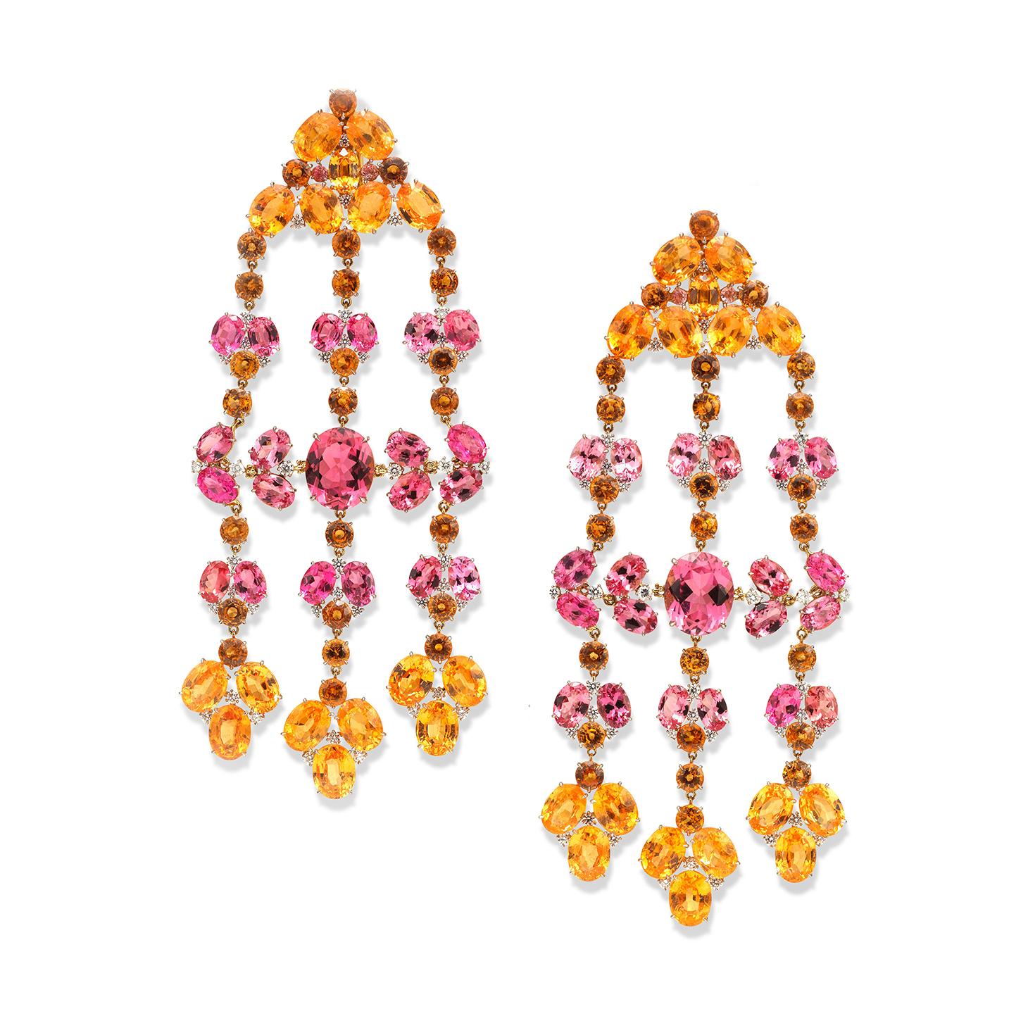 A Pair of Spinel, Garnet, Tourmaline and Diamond Ear Pendants, by SABBA