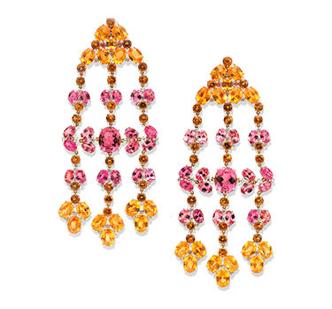 A Pair Of Spinel, Garnet, Tourmaline And Diamond Ear Pendants, By SABBA