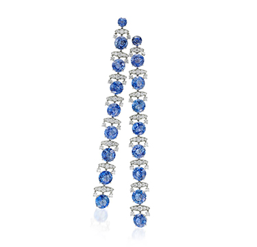 A Pair of Ceylon Sapphire and Diamond Ear Pendants, by SABBA