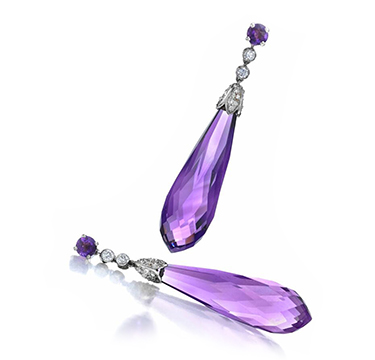 A Pair of Art Deco Amethyst and Diamond Ear Pendants, by Cartier, circa 1925