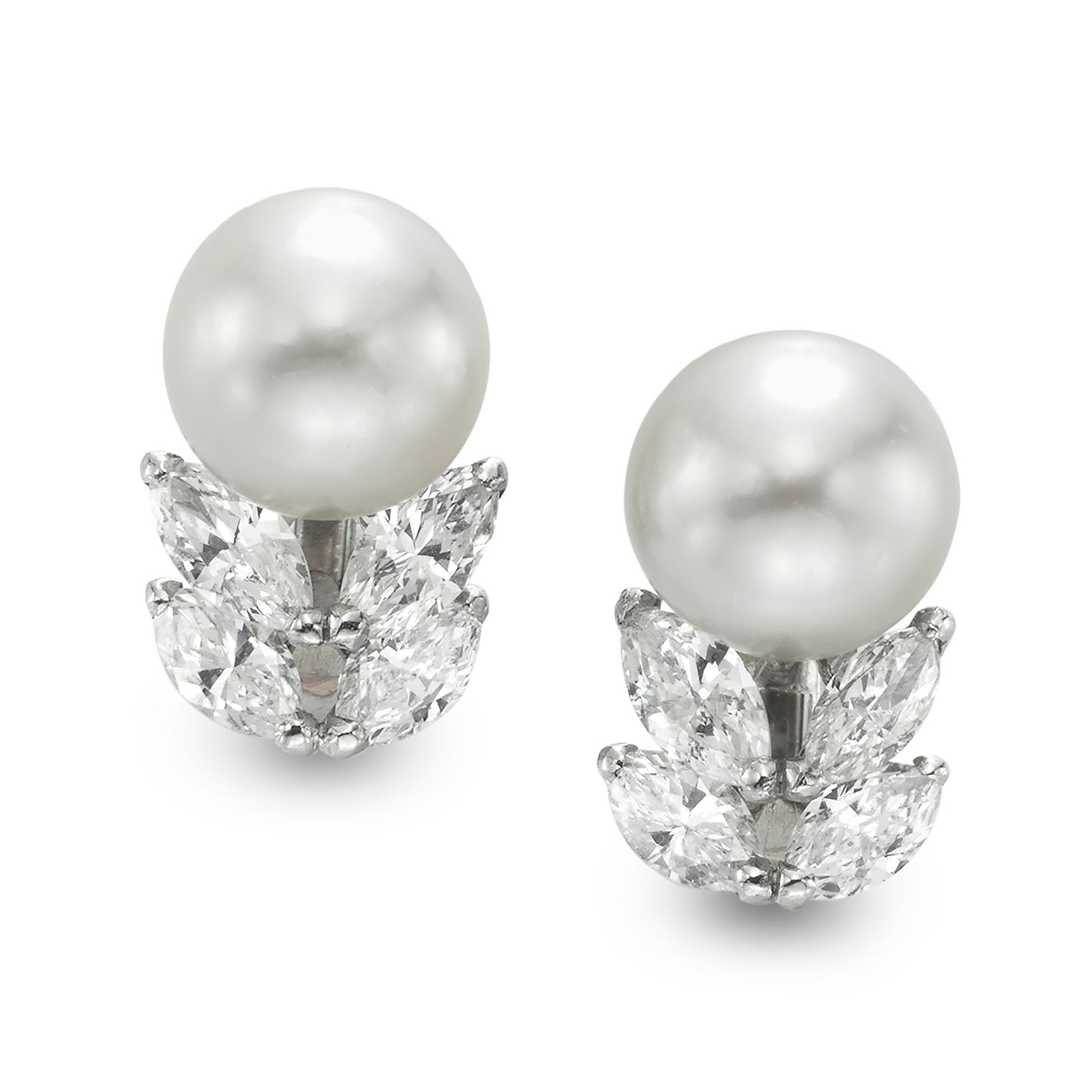 A Pair of Natural Pearl and Diamond Ear clips, by Cartier, circa 1950